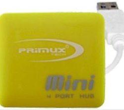 HUB USB 4 PUERTOS PRIMUX H105 MINI AMARILLO