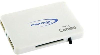 LECTOR TARJETAS+HUB USB 3P PRIMUX CR-107 BLAN