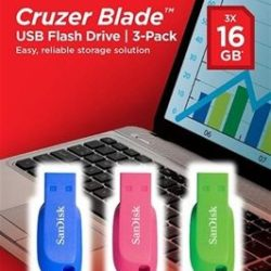 PEN DRIVES PACK 3X16GB SANDISK CRUZER BLADE ROSA/AZUL/VERDE