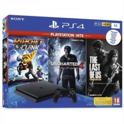 CONSOLA SONY PS4 1TB HITS+UNCHARTED  4+THE LAST O US+RATCHET & CLANCK