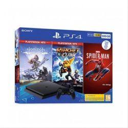 CONSOLA SONY PS4 500GB SLIM BK+HORIZON ZERO+RATCHET & CLANCK+SPIDER-MAN